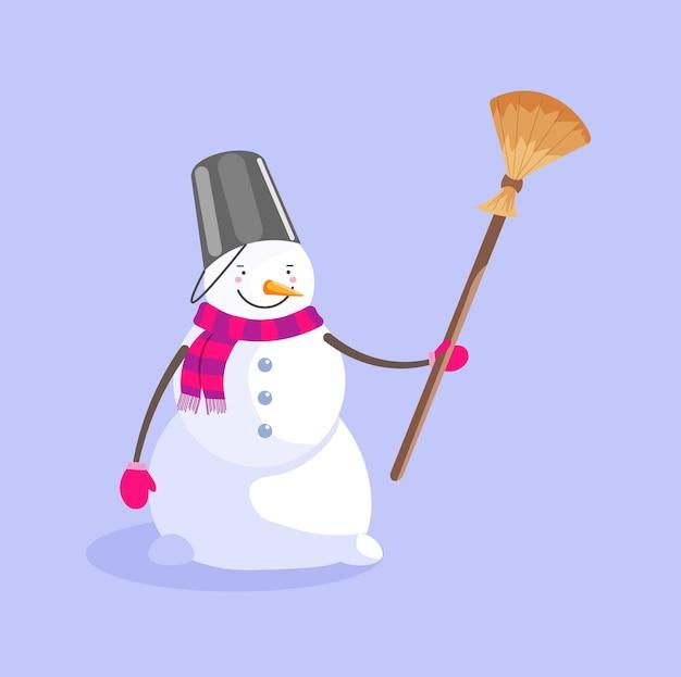 青で隔離ほうきとバケツとスカーフの雪だるま