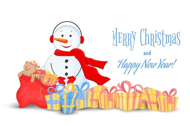 スカーフ、ブーツ、ミトン、ヘッドフォンの雪だるま。新年のはがき、クリスマス。白い背景の上の孤立したオブジェクト。テキストのテンプレート、おめでとうございます。ギフトやおもちゃの袋が付いている数量。