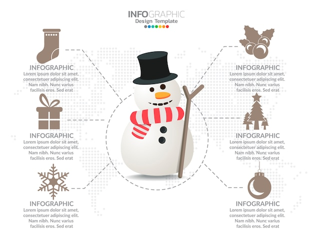 Snowman infographic with decoration and option colors.