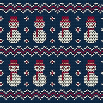 Snowman knitted pattern of christmas