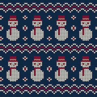 クリスマスの雪だるまニットパターン