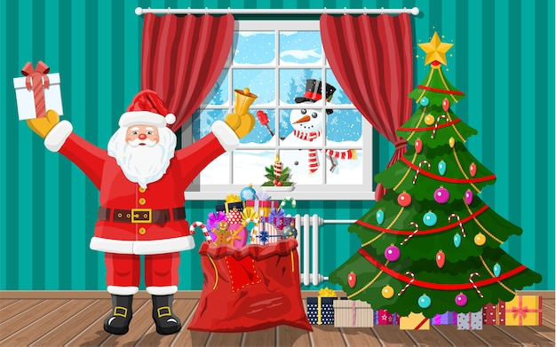 Snowman looks in living room window. santa in room with christmas tree and gifts. happy new year decoration. merry christmas holiday. new year and xmas celebration.
