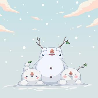 Snowman monster cute character