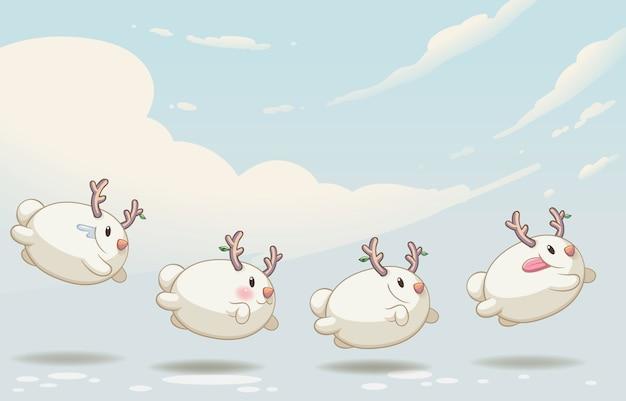 雪だるまモンスターキュートなキャラクター