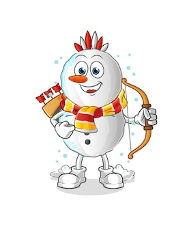 Snowman native american tribe cartoon mascot