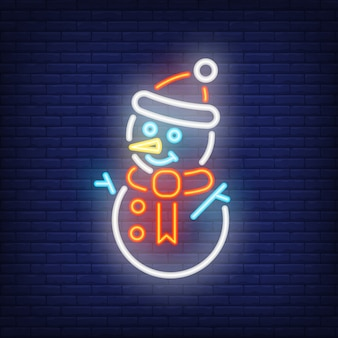 Snowman night bright sign element. winter concept for neon festive
