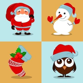 Snowman, owlet, christmas sock and santa claus