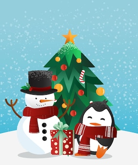 Snowman and penguin with the christmas tree