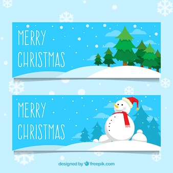 Snowman and pine banners