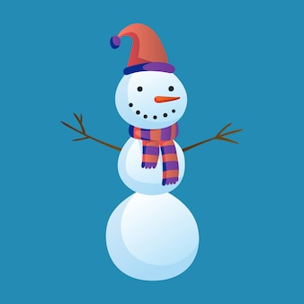 Snowman raising hands with top hat and scarf isolated. winter theme.