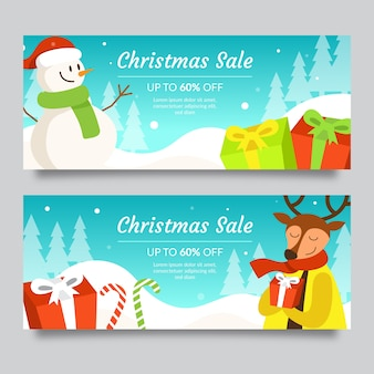 Snowman and reindeer with scarfs christmas sale banners
