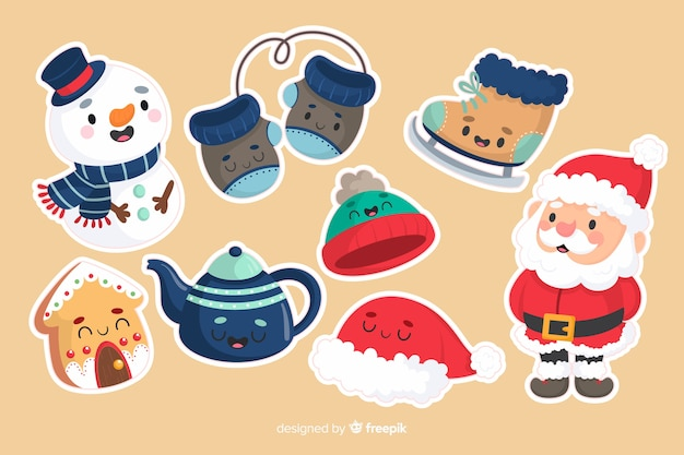 Snowman and santa claus christmas sticker collection