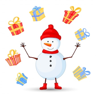 Snowman in scarf, boots, mittens and hat. postcard for the new year and christmas.  objects on white background. cute cartoon gifts for birthday.