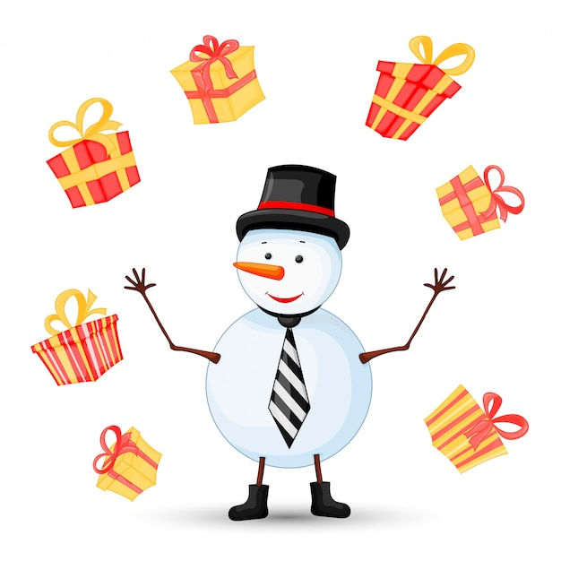 Snowman in scarf, boots, mittens, hat and tie