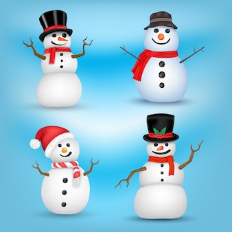 Snowman set on different positions