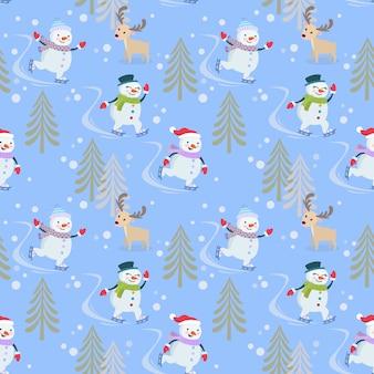Snowman on skate pattern.