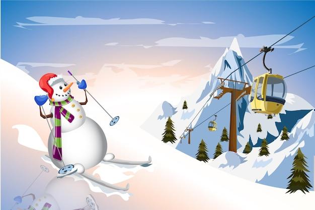 Снеговик на лыжах с гондольным трамваем зимнее время фон вектор дизайн