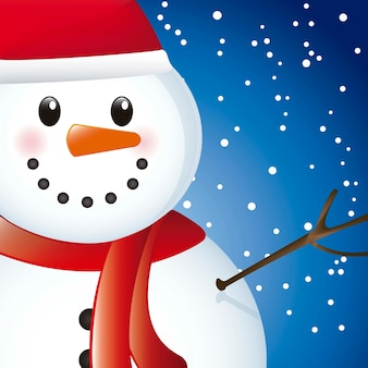 Snowman over sky with snow close up vector illustration