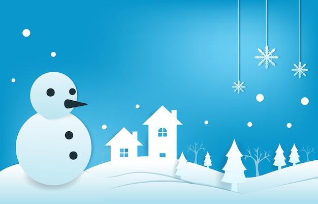 Снеговик снег зима papercut стиль вырезки из бумаги иллюстрация