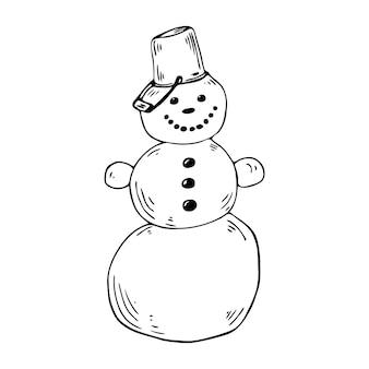 Snowman vector clipart. hand-drawn cute doodle snowman, christmas illustration.
