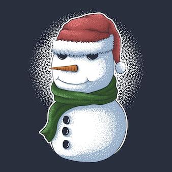クリスマスにサンタの帽子をかぶる雪だるま
