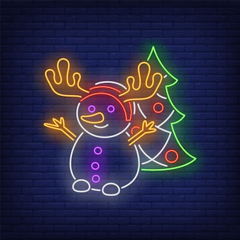 Snowman wearing antlers and decorated fir-tree in neon style
