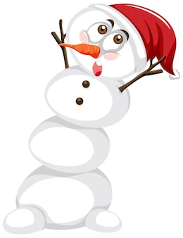 Snowman wearing christmas hat cartoon character