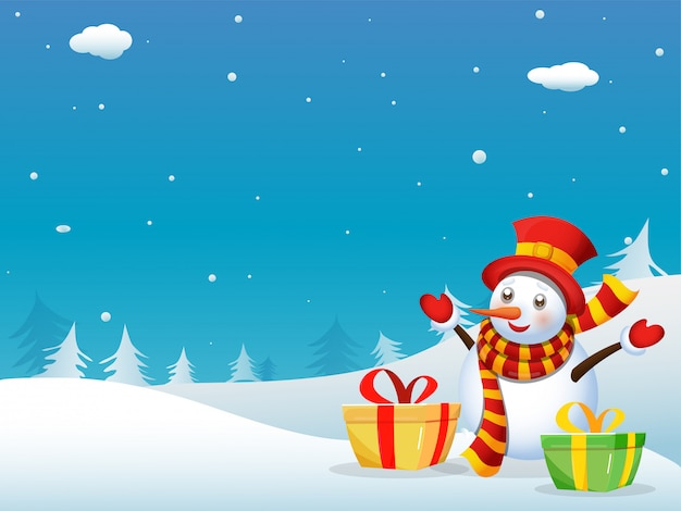 Snowman wearing hat, gloves, scarf with gift boxes and xmas trees on blue and white snowfall