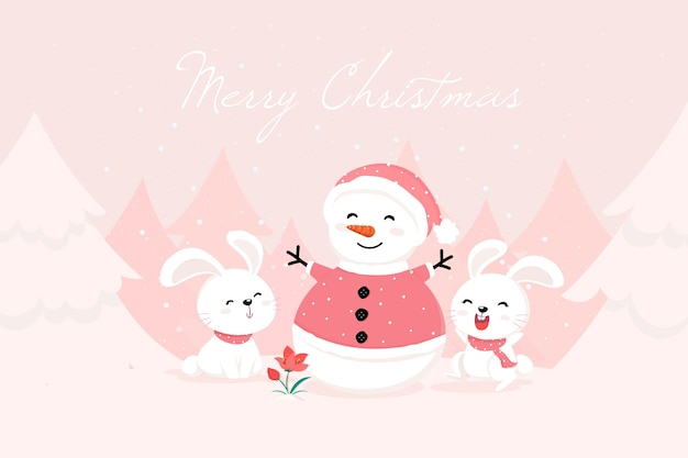 Snowman wearing santa's clothes and bunnies