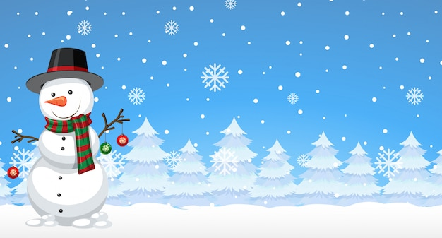 Snowman in the winter background