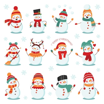 Snowman winter holidays set. cheerful snowmen in different costumes.