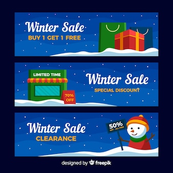 Snowman winter sale banner