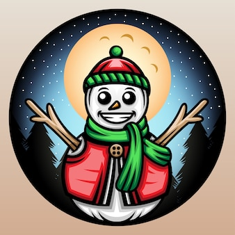 비니 겨울 모자와 눈사람입니다.