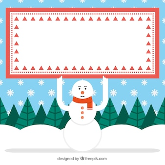 Snowman with and banner
