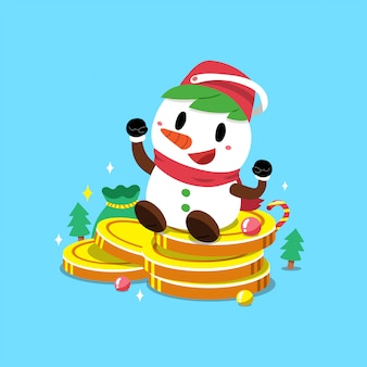 Snowman with big money coins stack
