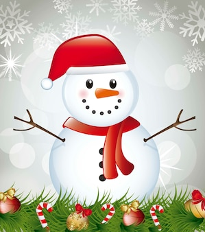 Snowman with garland over gray background vector illustration