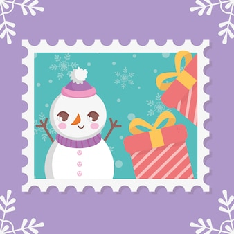 Snowman with gift boxes merry christmas stamp