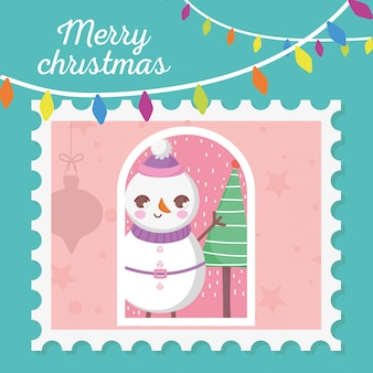 Snowman with hanging lights merry christmas stamp