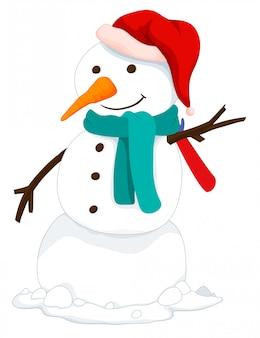 Снеговик в шляпе и шарфе