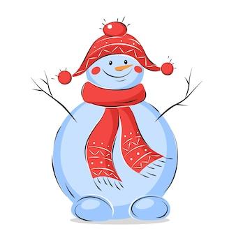 帽子とスカーフと雪だるま
