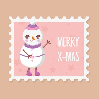 Snowman with hat merry christmas stamp