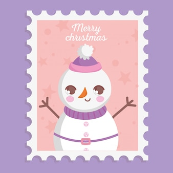 Snowman with hat scarf and belt merry christmas stamp
