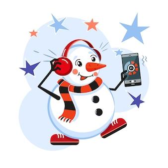 Снеговик в наушниках, слушает музыку и танцует.