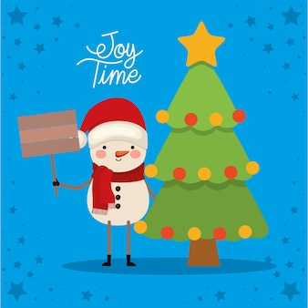 Snowman with one tree and joy times lettering.