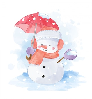 Snowman with red umbrella illustration