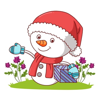 The snowman with the santa hat is holding a gift of illustration