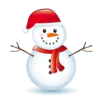Snowman with shadow isolated over white background vector