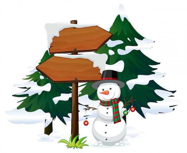 Snowman with signboard template