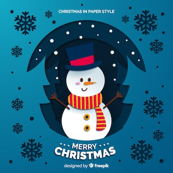 Snowman with top hat and scarf background