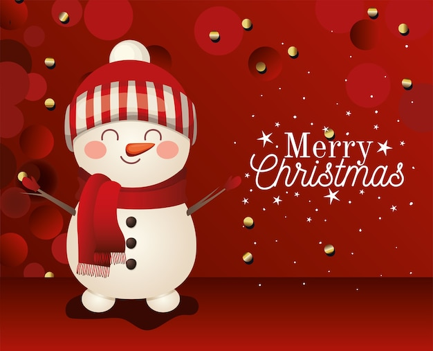 Snowman  withmerry christmas lettering on red background  illustration